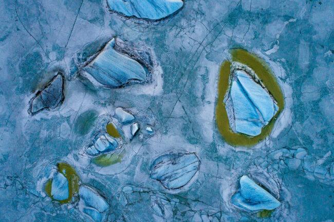 Luftaufnahme von Eisschollen