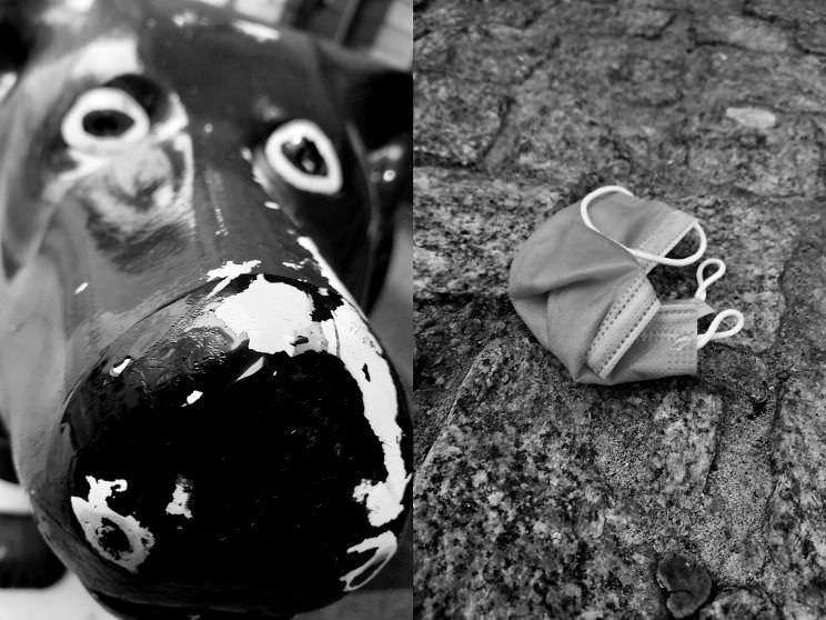 Diptychon: Abgeblätterte Farbe an einer Hundefigur und ein Mundnasenschutz auf der Straße