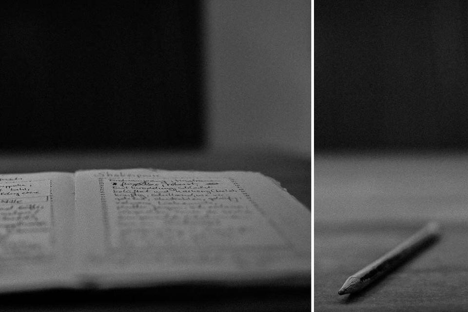 Diptychon: Notizblick und Stift