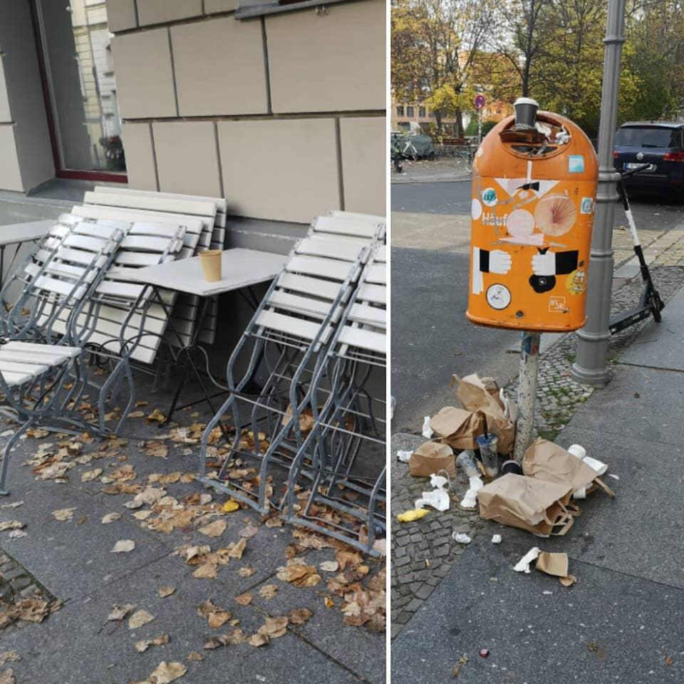 Mülleimer und Bänke