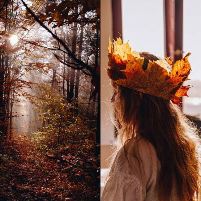 Wald um Frau mit Blätterkrone