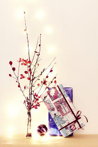 weihnachtliches Stillleben mit Pflanzen und Geschenken