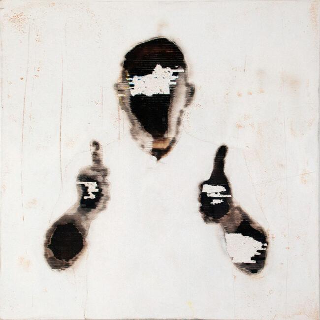 Kunstportrait, Person zeigt zwei Daumen hoch