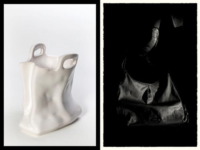 Collage weiße und schwarze Tasche