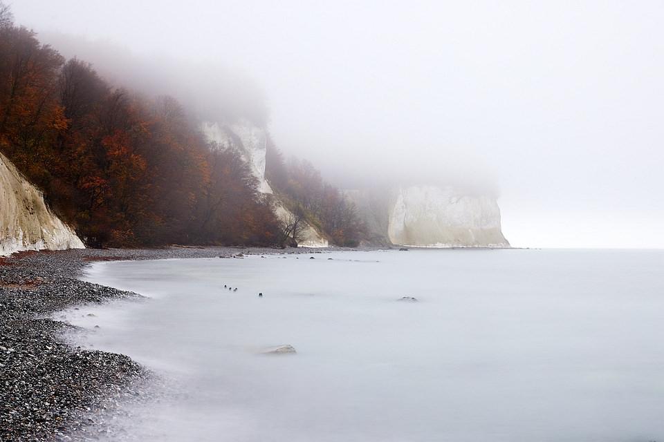 Nebel über Kreidefelsen am Meer