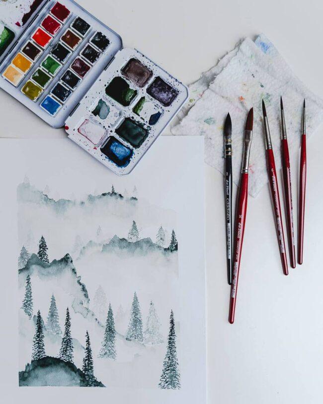 Pinsel, Farben und ein Bild