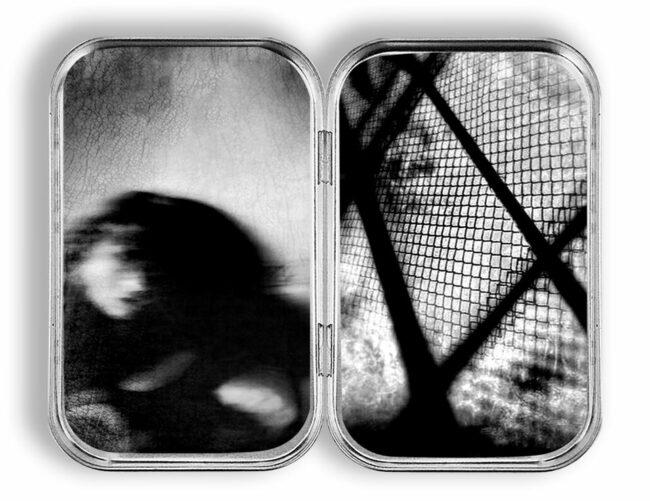 Diptychon surreales Portrait und Gitter
