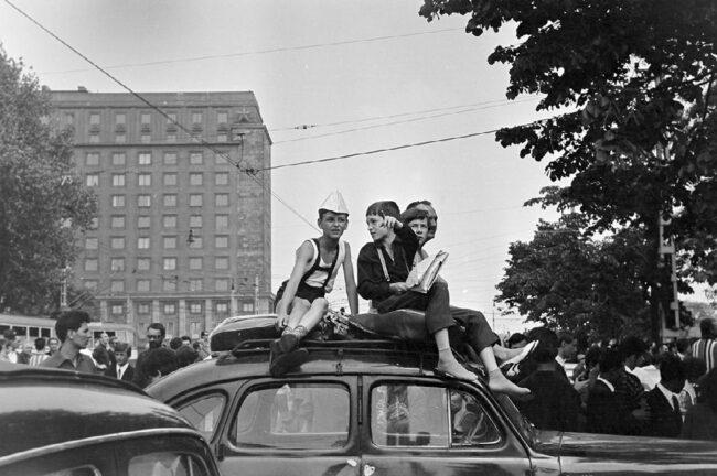 Kinder auf dem Dach eines Autos