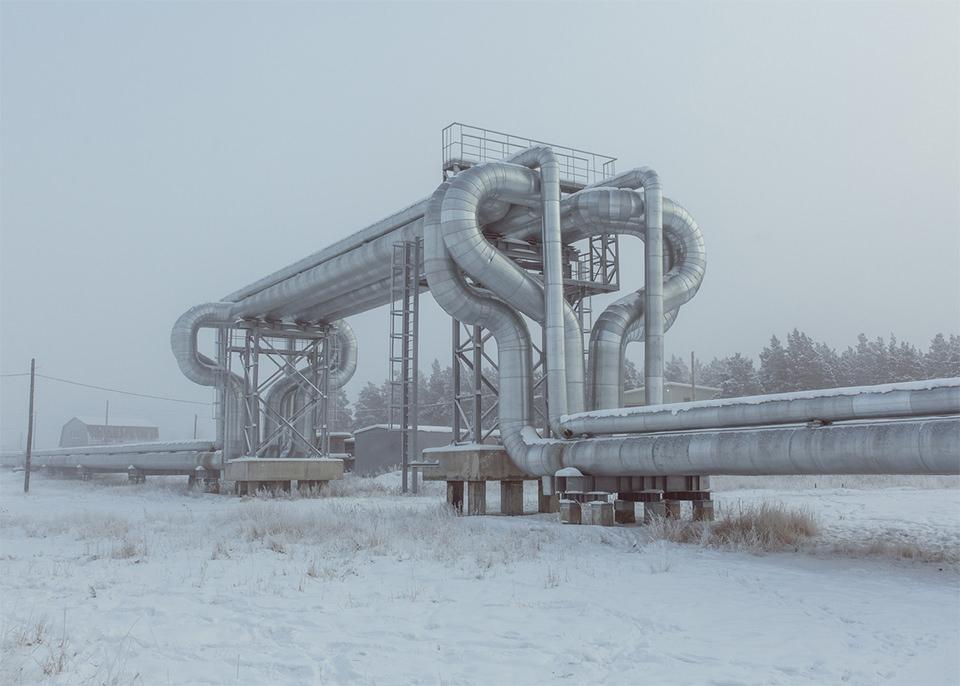 Rohre im Schnee