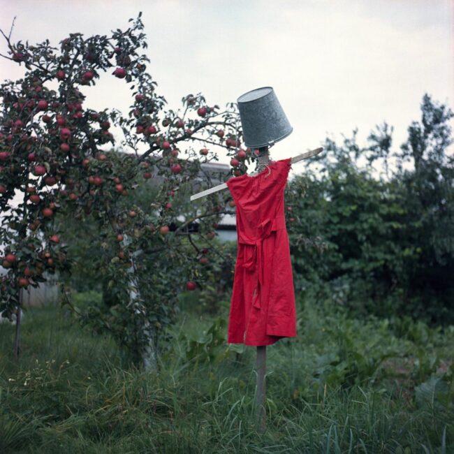 Vogelscheuche mit Eimer und rotem Kleid