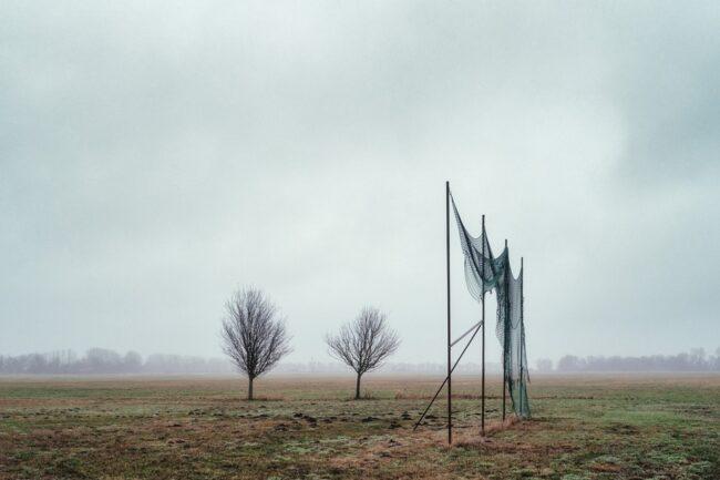 aufgehängtes Netz und zwei Bäume auf nebligem Feld