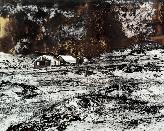 Mordancage-Landschaft mit Hütten