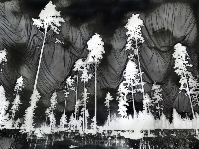 Mordancage-Landschaft mit weißen Baumsilhouetten