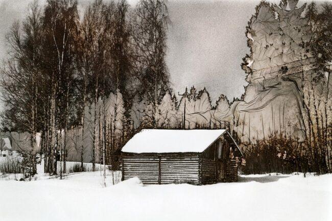 Mordancage-Landschaft mit Hütte im Schnee