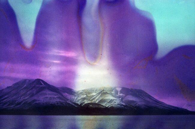 Gletscherlandschaft mit bunten Bildfehlern