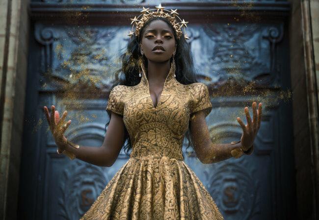 Königin in Gold mit Glitzer