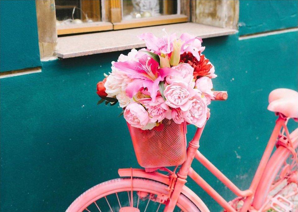 rosa Fahrrad mit Blüten im Korb vor blauer Fassade