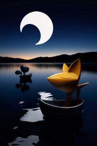 Spielzeugfiguren auf einem See unter Mondsichel
