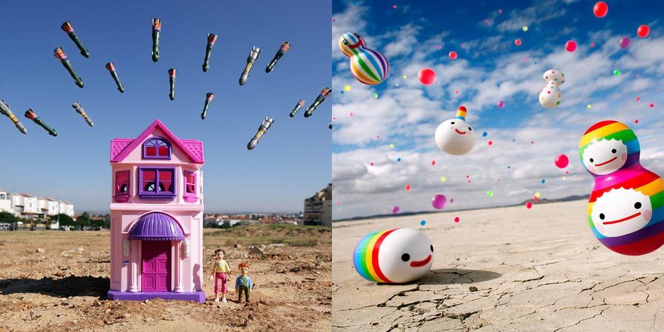 Diptychon: Spielzeughaus mit fallenden Spielzeugbomben und diverse bunte Figuren in der Wüste