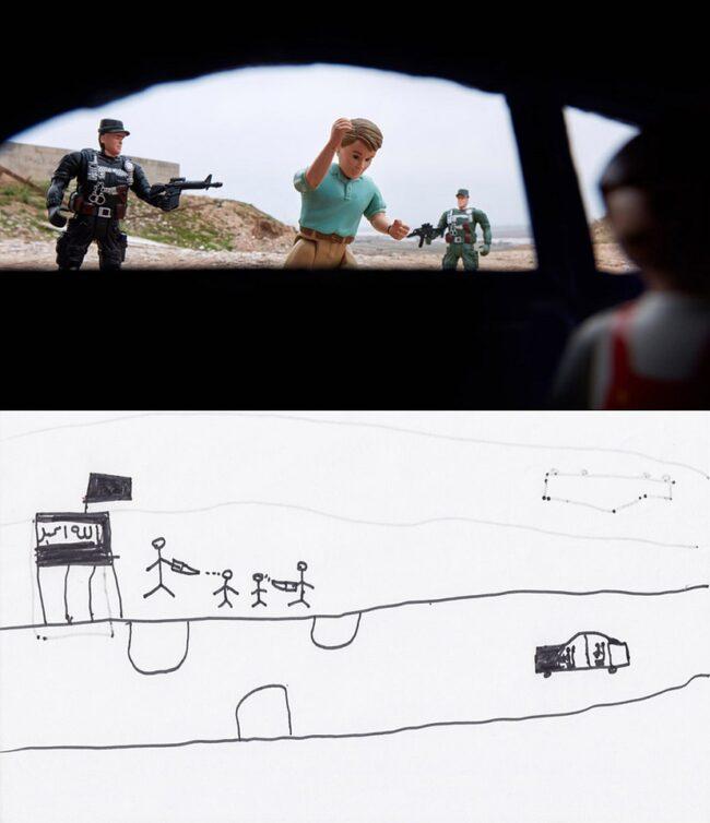 Diptychon: Checkpoint passieren Kinderzeichnung und mit Spielzeugfiguren nachgestellt