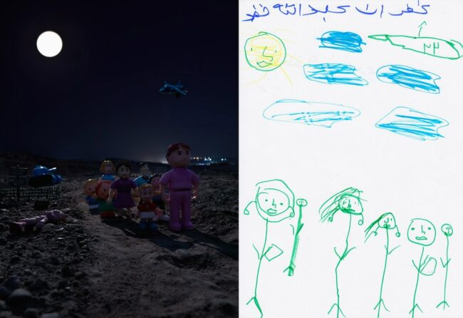 Diptychon: Fluchtszene Kinderzeichnung und nachgestellt mit Spielzeugfiguren