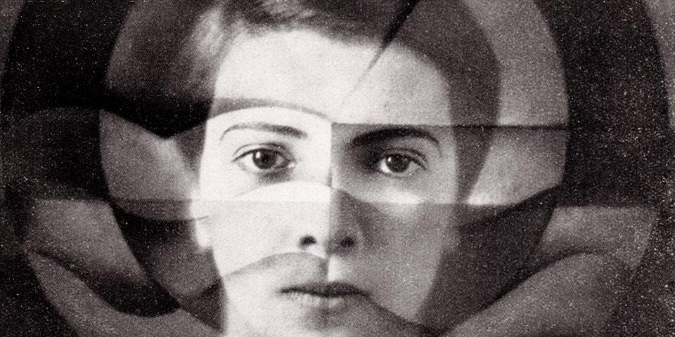 Portrait mit Überlagerung abstrakter Formen