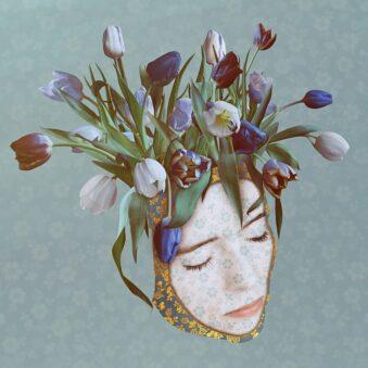 digitale Collage: Blumenstrauß wächst aus einem Kopf