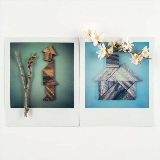 Polaroid-Diptychon mit Figur einer Person und eines Hauses mit Zweigen