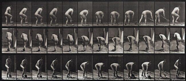 Bilderserie Bewegungsablauf grabender Mann